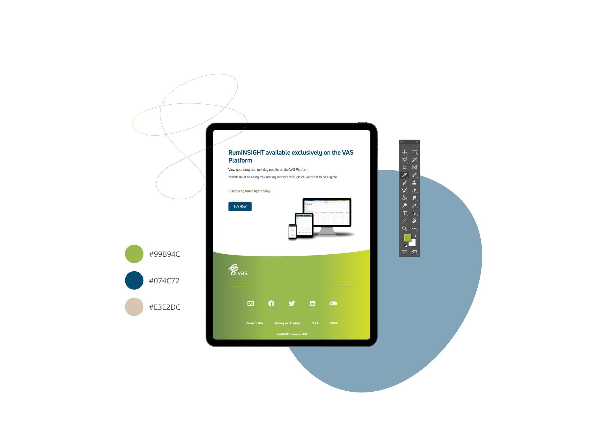 tcr. web design portfolio, landningssida för VAS