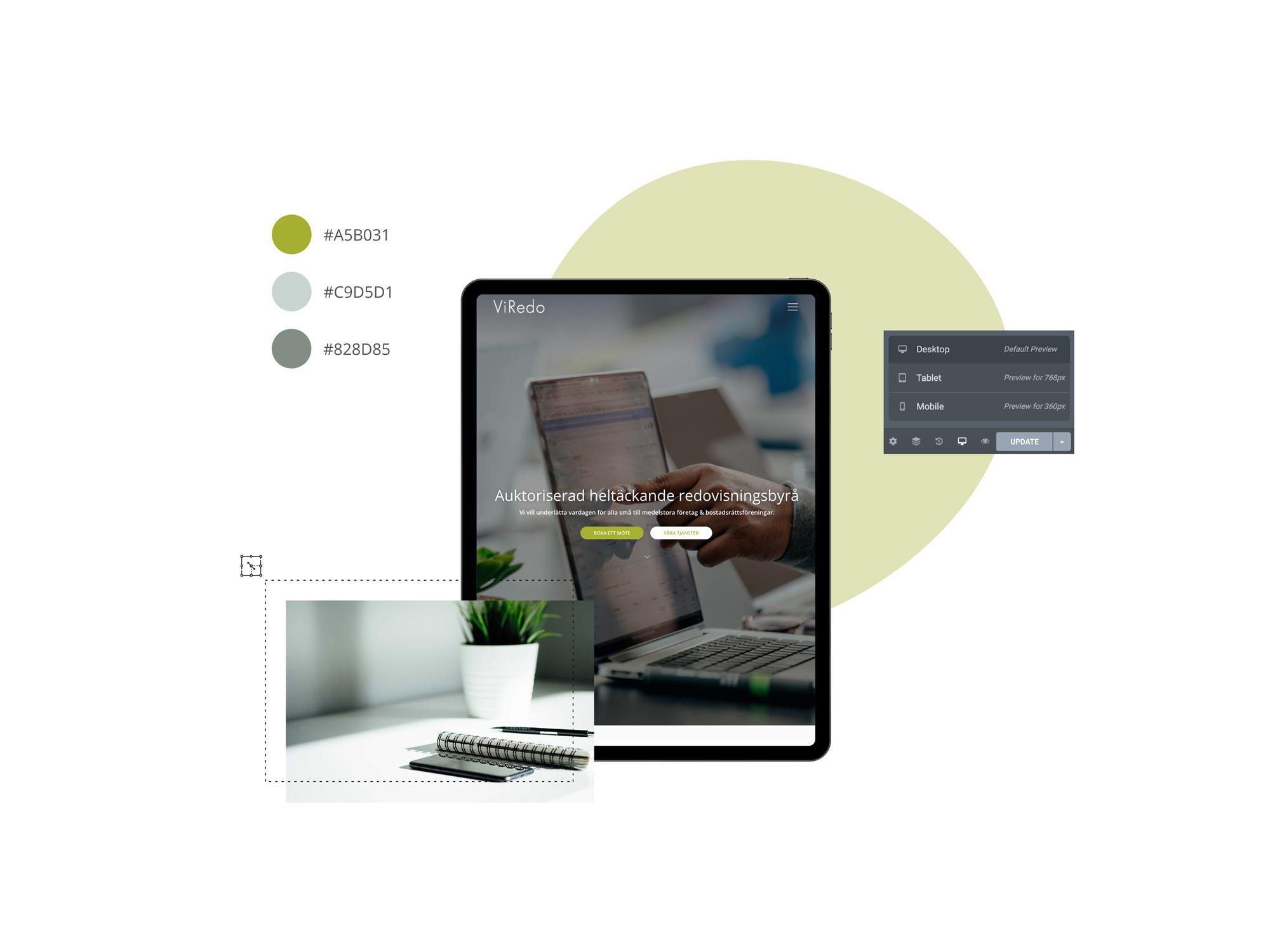 tcr. web design portfolio, websida för ViRedo redovisningsbyrå